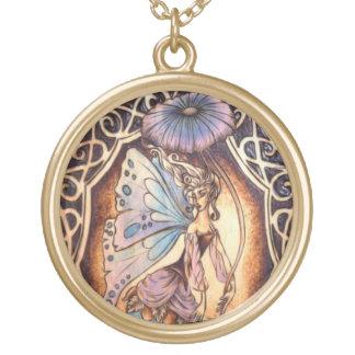 Victorian Garden Fairy Pendant - Large Gold