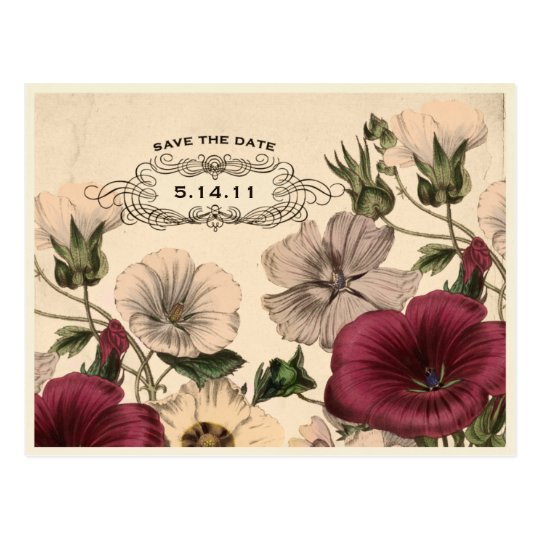 Victorian Garden Save the Date postcard