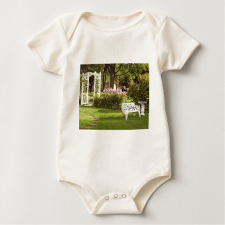 Victorian Garden White Chair birdbath Baby Bodysuit