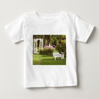 Victorian Garden White Chair birdbath Baby T-Shirt