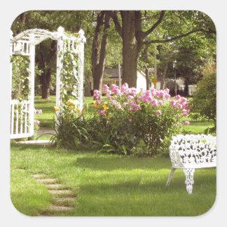 Victorian Garden White Chair birdbath Sticker