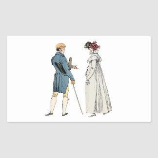 Victorian Gentleman And Lady Rectangular Sticker