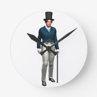 Victorian Gentleman in a Blue Coat Round Clock