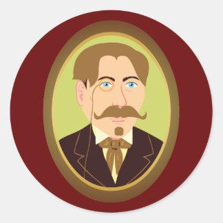 Victorian Gentleman Portrait Classic Round Sticker