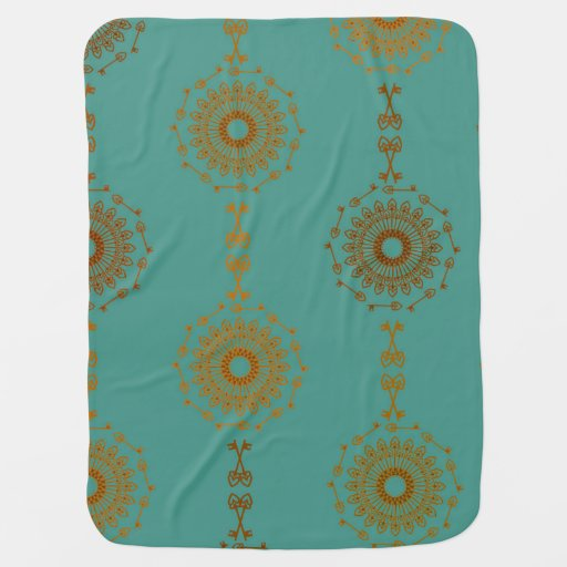 Victorian Geometric Teal Gold Pattern Baby Blanket | Zazzle