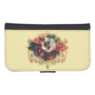 "Victorian ""Gilded Pansies"" Phone Wallet"