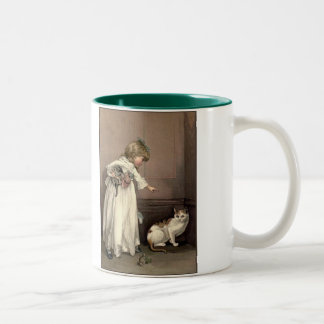 Victorian Girl And Cats Two-Tone Coffee Mug