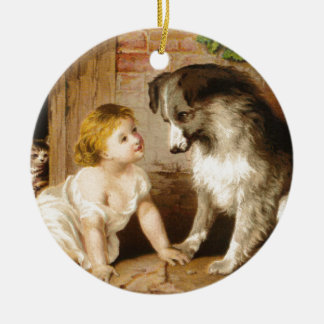 Victorian Girl and Her Dog Ceramic Ornament