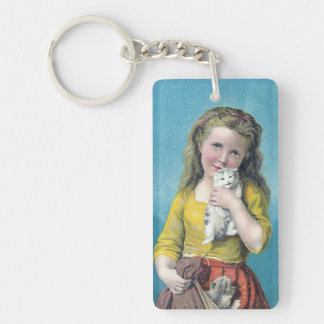 Victorian Girl and Kittens Keychain