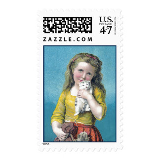 Victorian Girl and Kittens Postage