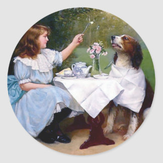 Victorian Girl and Pet Dog Table Manners painting Classic Round Sticker