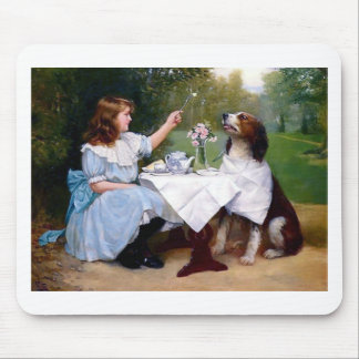Victorian Girl and Pet Dog Table Manners painting Mouse Pad