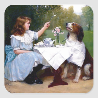 Victorian Girl and Pet Dog Table Manners painting Square Sticker