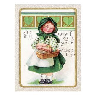 Victorian Girl Basket Heart Postcard