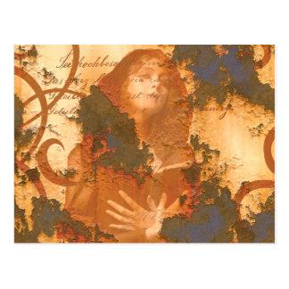 Victorian Girl Book rust grunge old inspirational Postcard