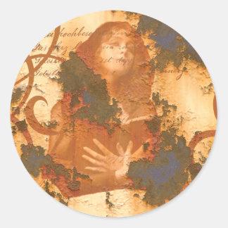 Victorian Girl Book rust grunge old inspirational Round Sticker