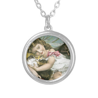 Victorian Girl Cat Dog Love Round Pendant Necklace