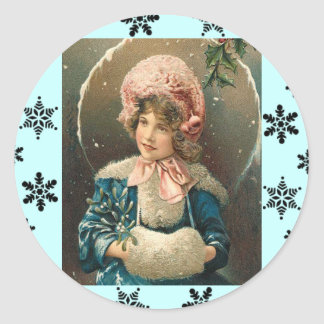 Victorian Girl Christmas Stickers