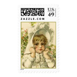 Victorian Girl Christmas Vintage Postcard Brundage Stamp