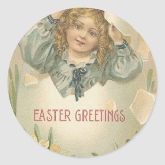 Victorian Girl Daffodil Jonquil Easter Egg Classic Round Sticker