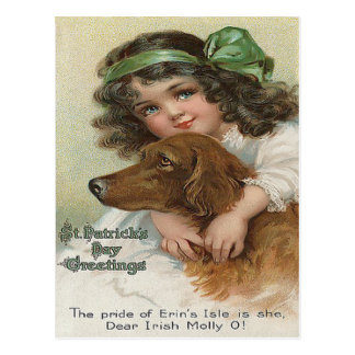 Victorian Girl Dog Green Molly Postcard