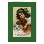 Victorian Girl/Dog St. Patrick's Day Greeting Card