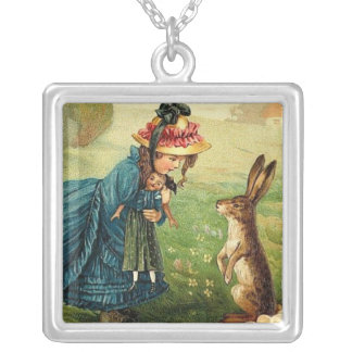 Victorian Girl Doll Easter Bunny Antique Post Card Pendant