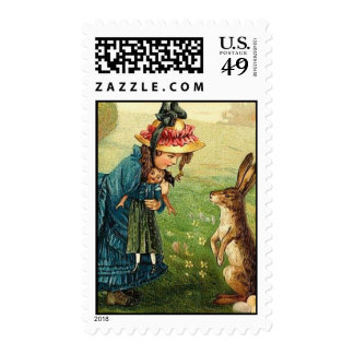 Victorian Girl Doll Easter Bunny Antique Post Card Stamps