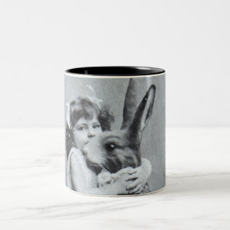 Victorian Girl Easter Bunny Antique Post Card Two-Tone Coffee Mug