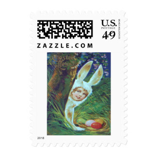 Victorian Girl Easter Bunny Costume Egg Postage