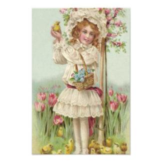 Victorian Girl Easter Chick Basket Flower Tree Photo Print