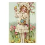 Victorian Girl Easter Chick Basket Flower Tree Art Photo