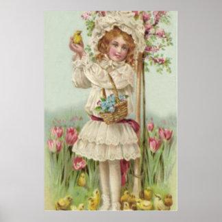 Victorian Girl Easter Chick Basket Flower Tree Poster