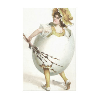 Victorian Girl Easter Egg Costume Yellow Canvas Print