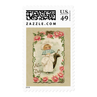Victorian Girl Fair Days Vintage Reproduction Postage