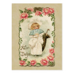 Victorian Girl Fair Days Vintage Reproduction Postcard