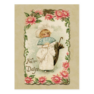 Victorian Girl Fair Days Vintage Reproduction Postcard