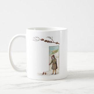 Victorian Girl Feeding Birds in Snow Coffee Mug
