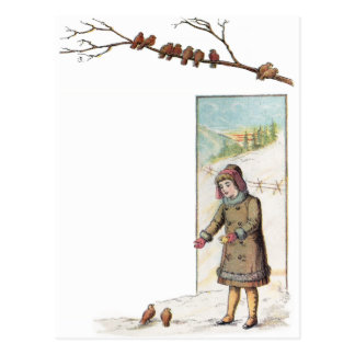 Victorian Girl Feeding Birds in Snow Postcard