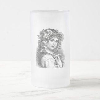 Victorian Girl Frosted Glass Beer Mug