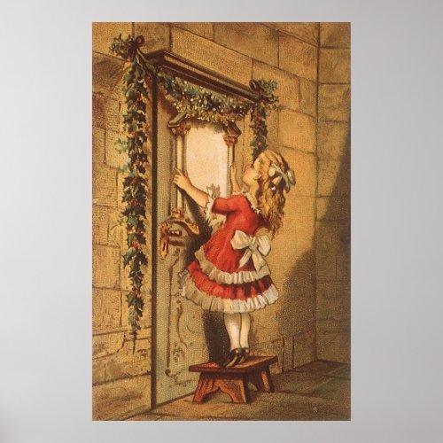 Victorian Girl Hanging Christmas Garland Over Door Posters