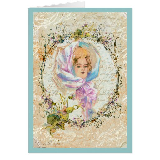 VICTORIAN GIRL HARRISON FISHER STYLE PRINT cropped Card