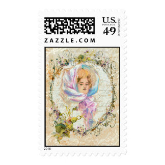 VICTORIAN GIRL HARRISON FISHER STYLE PRINT cropped Stamp