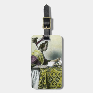 Victorian Girl Having Tea Magic Lantern Vintage Bag Tag