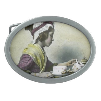 Victorian Girl Having Tea Magic Lantern Vintage Belt Buckle
