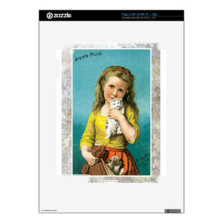 Victorian Girl Holding Loving Kitten Cat Decal For The iPad 2