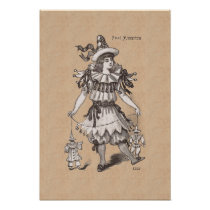 Victorian Girl in a Charming Pierrot Party Costume Poster