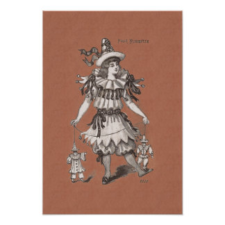 Victorian Girl in a Charming Pierrot Party Costume Posters