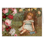 Victorian Girl in Dreamland Greeting Card