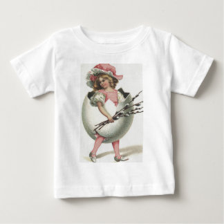 Victorian Girl In Easter Egg Cotton Rose Baby T-Shirt